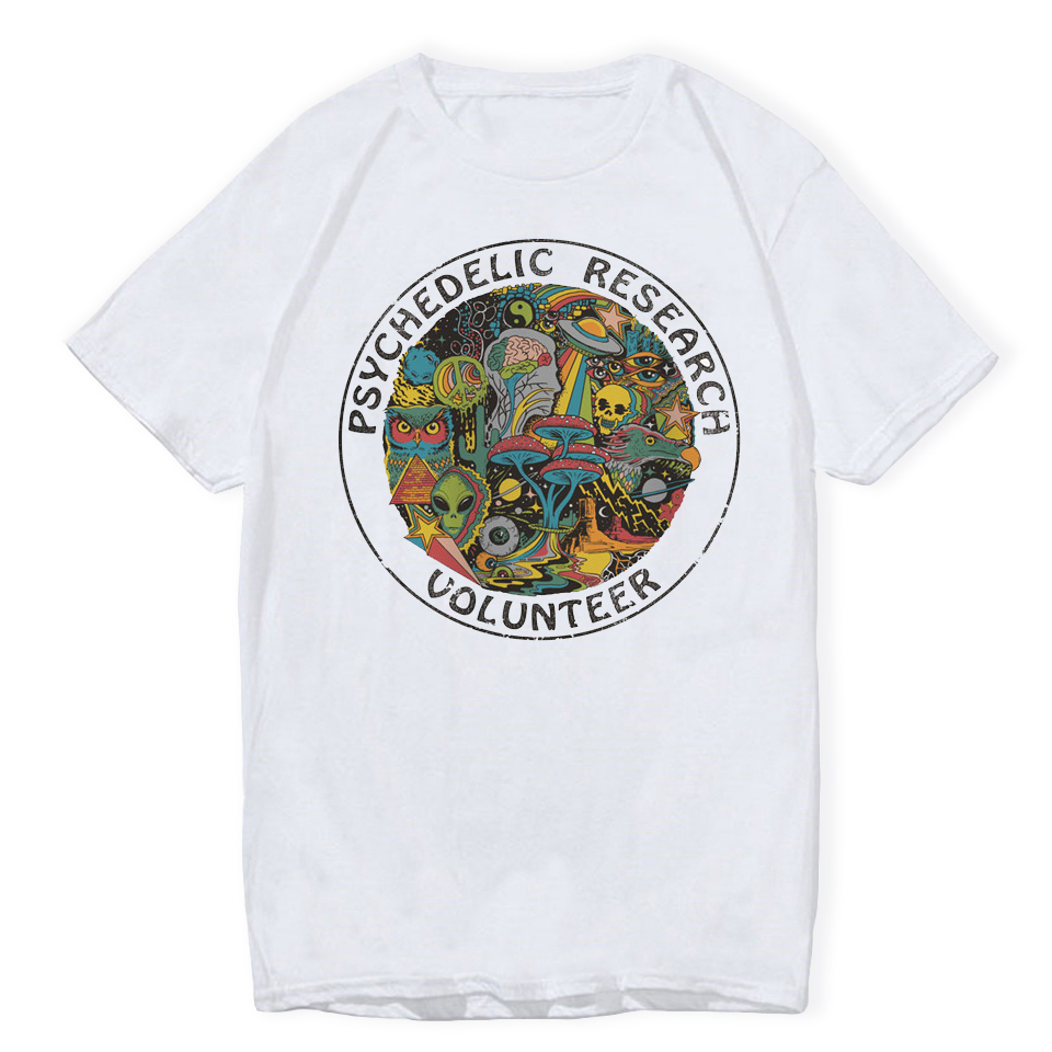 LettBao Psychedelic Research Volunteer Boys T-shirts Cartoon Mens Tshirt Summer White Fashion White Hip Hop T Shirt Funny Top