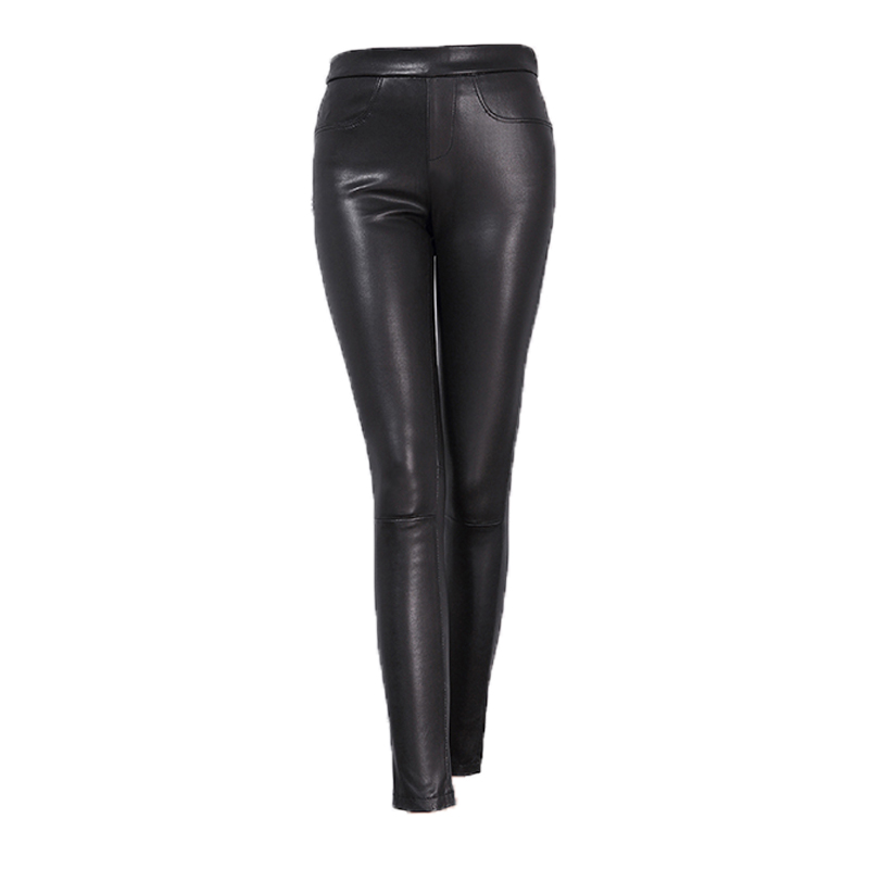 Svadilfari Wholesale New 2018 Spring Women Slim High Quality Genuine Leather Trousers Fashion Ladies Stretch Pencil Pants Black