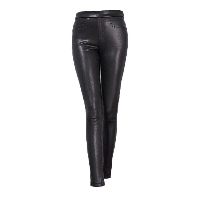 Svadilfari vente en gros nouveau 2018 printemps femmes Slim haute qualité en cuir véritable pantalon mode dames Stretch crayon pantalon noir
