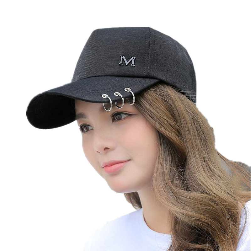 2018 fashion Metal Letter M Lron Ring Pink Classic 6 Panel Women   Baseball     Cap   Ladies Youth Snapback High Quality   Baseball     Cap