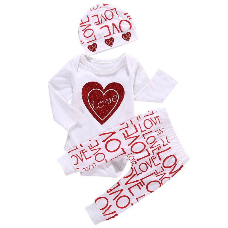 3pcs Newborn Toddler Baby Girl Clothing Set Love Print Romper Pants Cotton Cute Baby Girls Clothes Outfits Set 0-18M