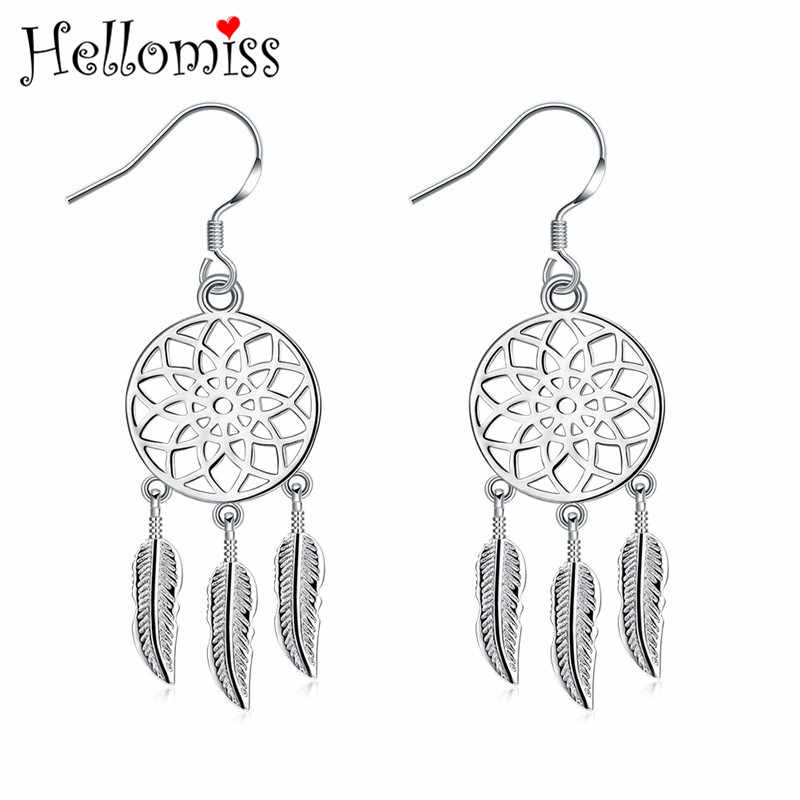 Silver 925 Ear Drops Earrings for Women Dream Catcher Feather Long Earring Fashion Jewelry Accessories Gifts Ear Hooks Bijoux