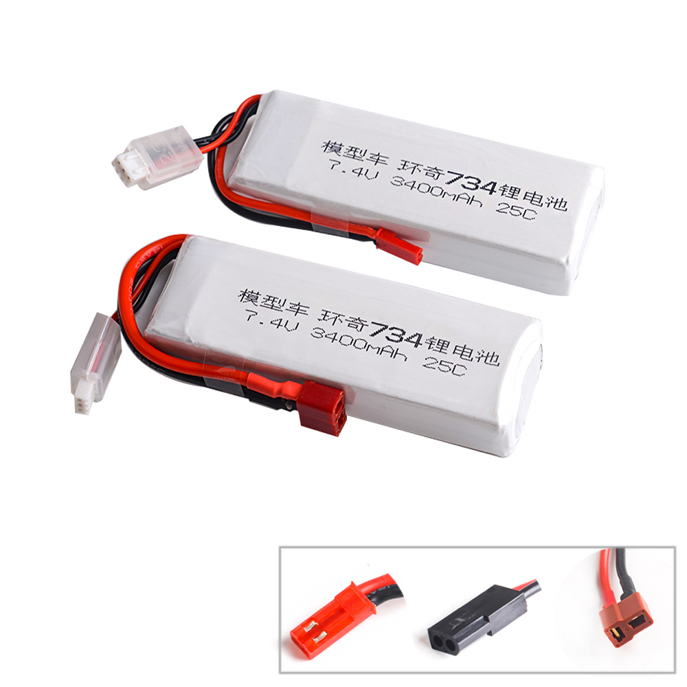 1pcs <font><b>7.4V</b></font> 3400MAH 25C 2S <font><b>li</b></font>-<font><b>po</b></font> battery for HuanQi 734A/SUBO BG1513 1:16 RC car/Boat image