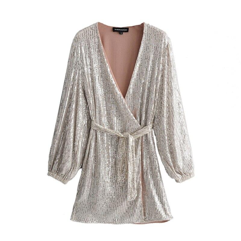 ZXQB Sequins V Neck Dresses Women Fashion Long Puff Sleeve Dress Mini Ladies Elegant Tie Blet Waist Dresses Female Outfit