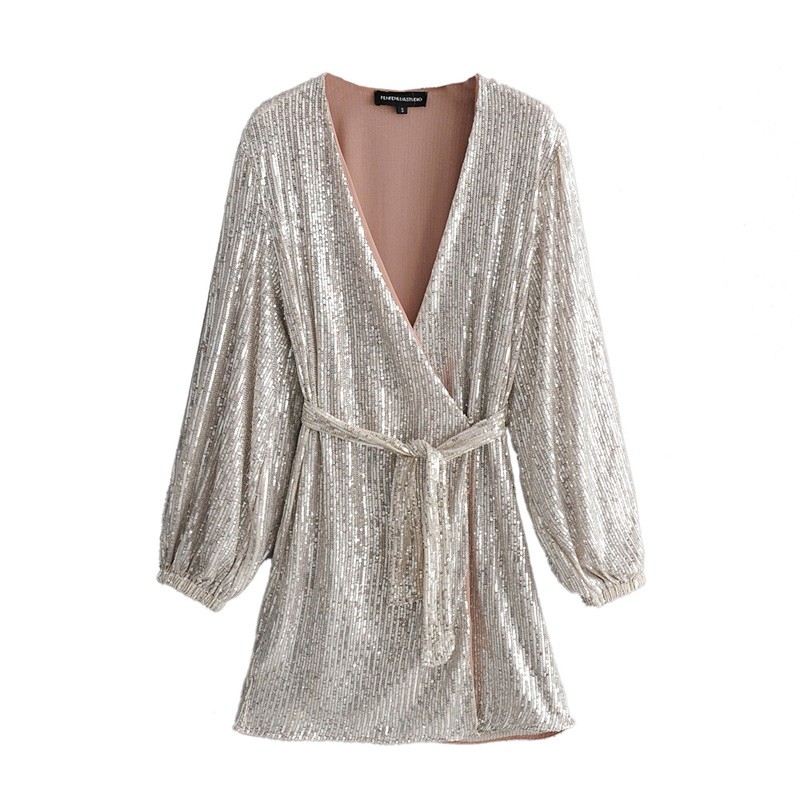 ZXQB Sequins V Neck Dresses Women Fashion Long Puff Sleeve Dress Mini Ladies Elegant Tie Blet Waist Dresses Female Outfit