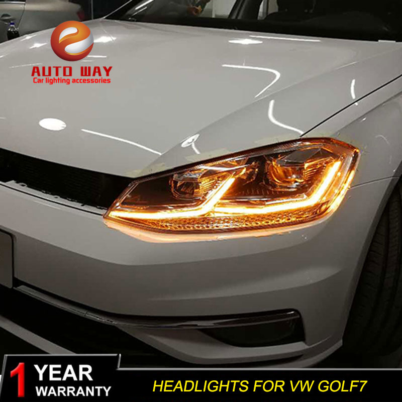 Car Styling Head Lamp case for VW Golf7 Headlights Golf 7 MK7 2014 2015 LED Headlight DRL Lens Double Beam Bi-Xenon HID hireno headlamp for hodna fit jazz 2014 2015 2016 headlight headlight assembly led drl angel lens double beam hid xenon 2pcs
