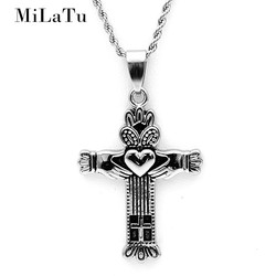 Milatu 2017 new claddagh necklace for women men stainless steel irish wedding jewelry cross pendant crown.jpg 250x250