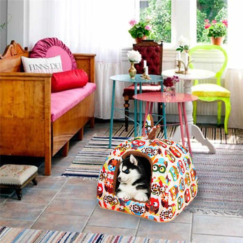 Hoomall プリントぬいぐるみ布巣小中犬犬のベッドマット小屋ソフト犬の子犬猫冬暖かいベッド家ペット用品