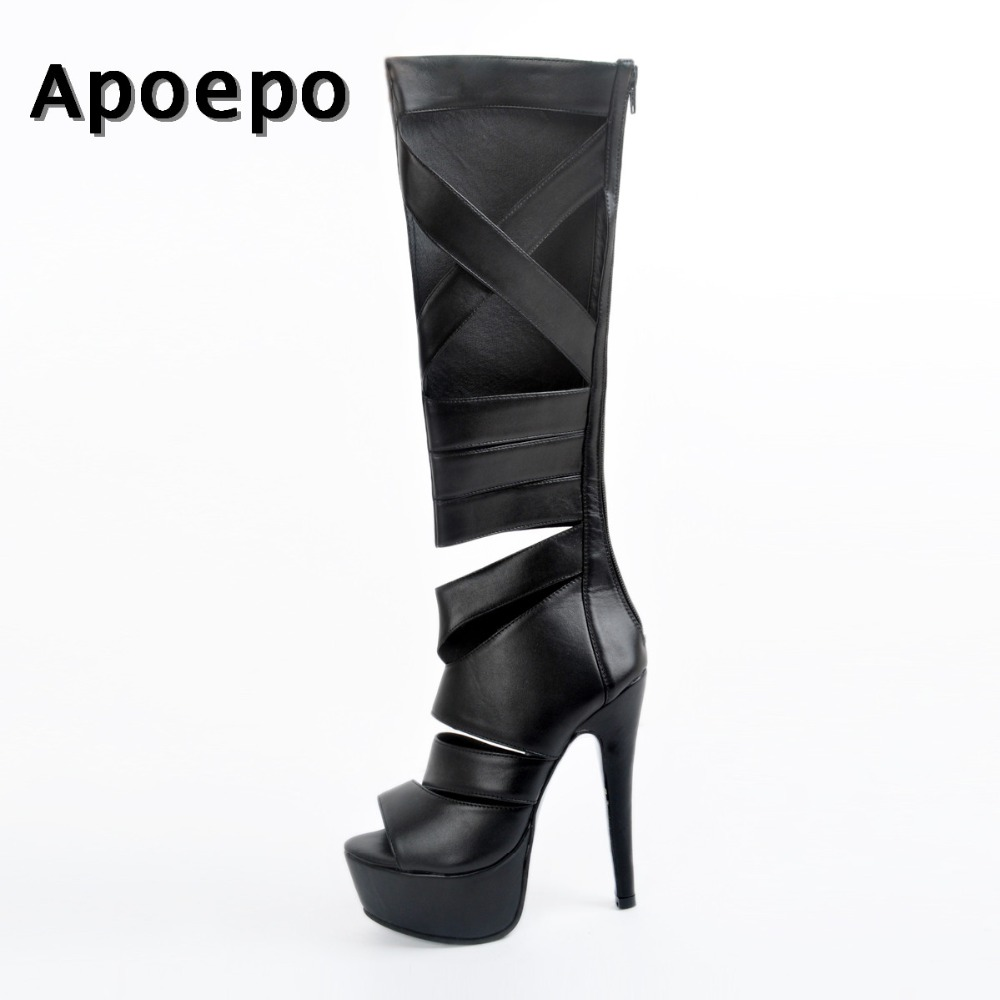 Apoepo Hot Selling Black Leather High Heel Boots Sexy peep toe platform knee high boots 2018 Cutouts woman gladiator long boots apoepo hot selling green suede high heel