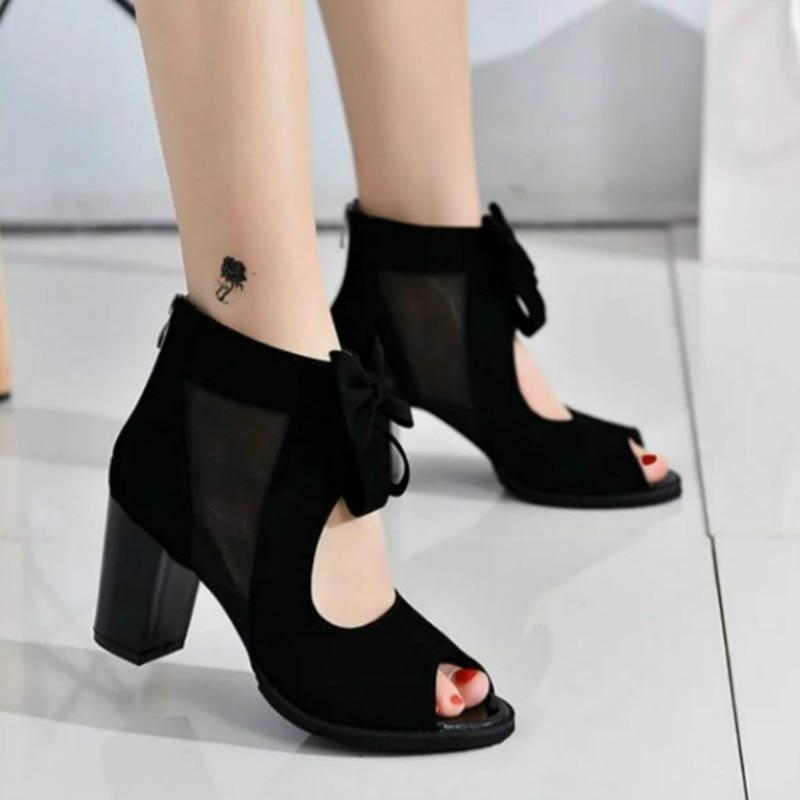 Women's Shoes Women Bow Sandals Thick Heel Mesh Shoes Fashion Fish Mouth Shoes Heels