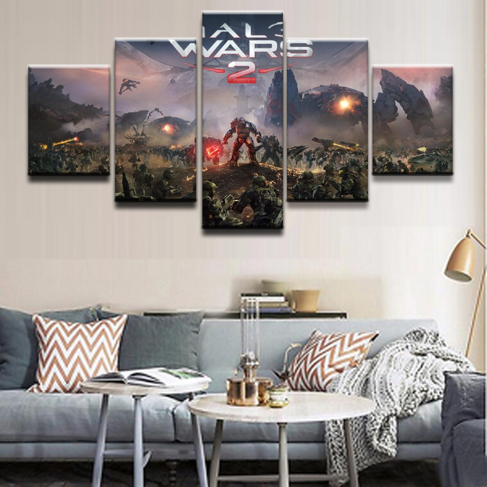 Decoration Art Oil Painting 5 Panel Game Halo Wars 2 Character Wall Art Framework Modular Pictures For Living Room Home Decor