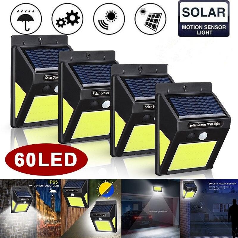 4 Pack 60 LED Solar Lamp Light Outdoor Garden Waterproof IP65 PIR Motion Sensor Path Security