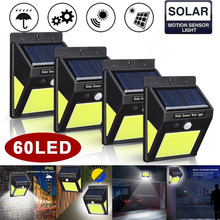 4 Pack 60 LED Solar Lamp Light Outdoor Garden Waterproof IP65 PIR Motion Sensor Path Security Lights Luz Solar Led Para Exterior 4 pack radar sensor solar rechargeable led wall light outdoor garden lights waterproof outdoor led lights for solar power