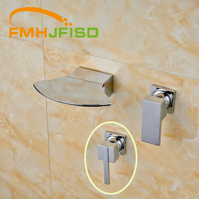 ФОТО Two Types Handle Chrome Finish Wall Mounted Single Handle Bathroom Mixer Water Taps High Quality Best Price