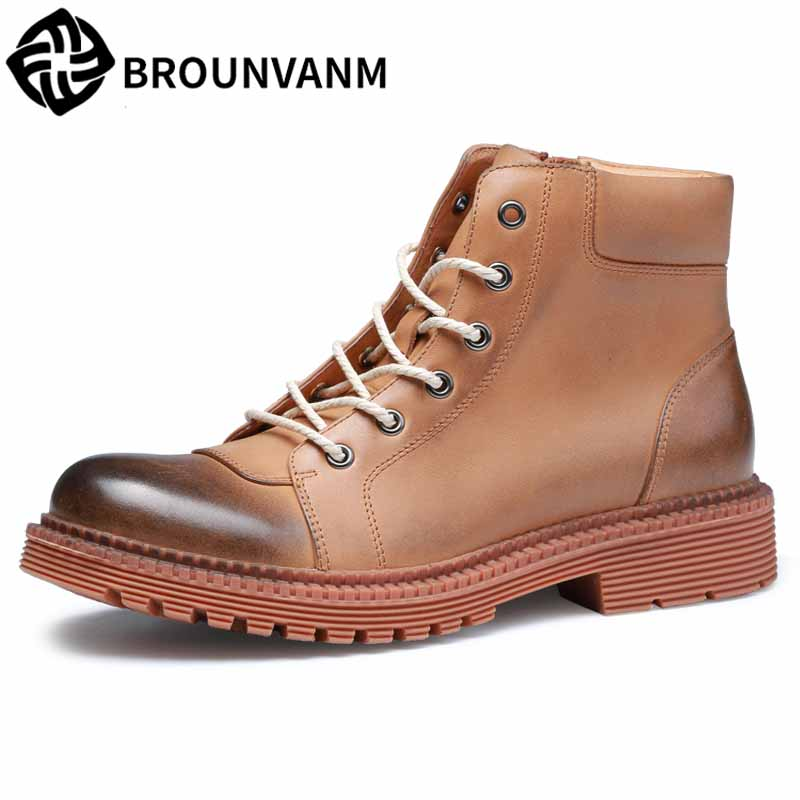 Autumn winter new men's high-top shoes Korean youth shoes male British retro all-match cowhide Chelsea boots Martin boots men