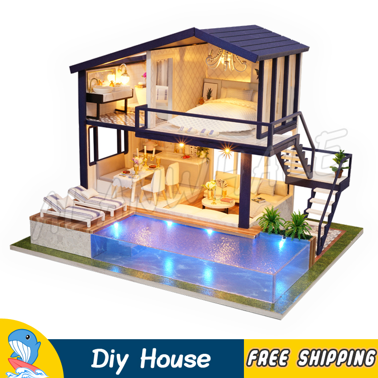 Miniature Doll House Time Duplex Apartment Swimming Pool Dollhouse Furnitures Adult Teenager Toys Figure Building Gifts SetsMiniature Doll House Time Duplex Apartment Swimming Pool Dollhouse Furnitures Adult Teenager Toys Figure Building Gifts Sets