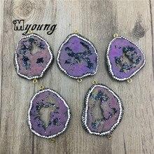 Agates Geode Druzy Slice Pendants With rhinestone Paved,Quartz Purple Titanium Connectors For Jewelry Making MY2053