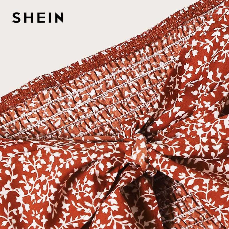 SHEIN Verknotet Geraffte Floral Bardot Top Und Rüschen Wrap Rock Set Boho Rost Asymmetrische Off Schulter Sommer Frauen Zwei Stück set