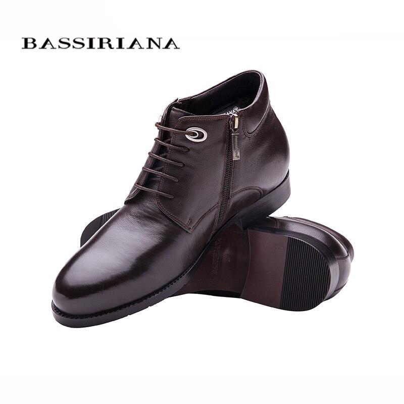 cafeaf02f47 BASSIRIANA зима 2017 классическая модель натуральная кожа мужская зимняя  обувь на шнуровке Натуральный мех Большие размеры 39 45 Удобные ботинки для  мужчин ...