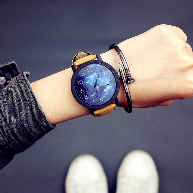 70c21c510544 Lovers Starry Sky Watch Couple Watch Fashion Large Dial Sport Watch Men  Women Watches Leather Clock