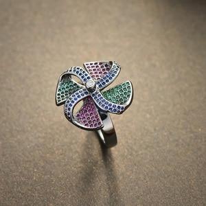 Image 2 - Viennois בציר כסף צבע נחושת אצבע טבעת עבור נשים צבעוני זירקון סלול טחנת רוח נשי גודל טבעת מסיבת תכשיטים