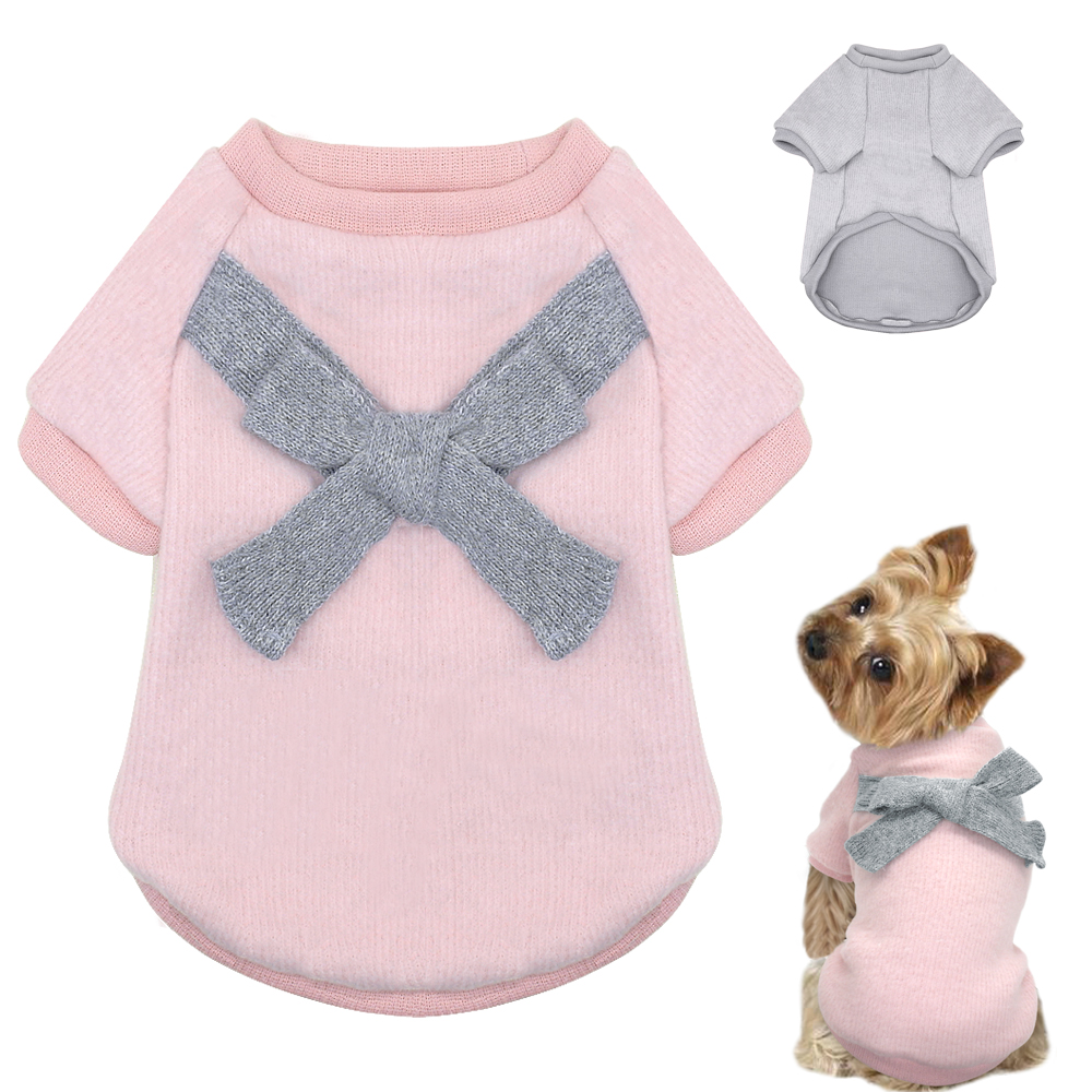 Dog Clothes For Small Dogs Soft Bowknot Pet Dog Sweater Clothing For Dog Chihuahua Winter Clothes Pet Ropa Perro Pink