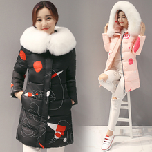 2016 plus size thickening down jacket ladies medium-long parka female fashion large fur collar winter coat women slim outerwear