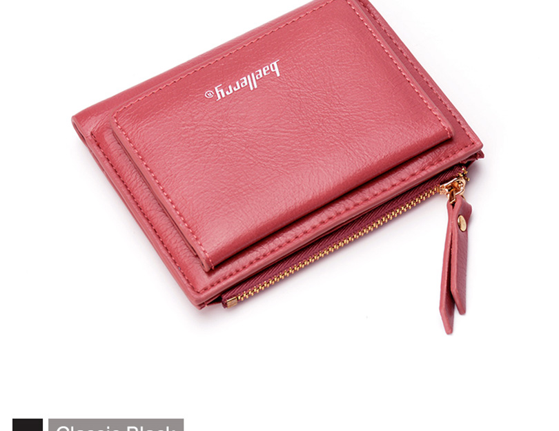 Women Wallet Small Purse Female Wallet Credit card slots zipper coin pocket Leather Wallet lovely pink one size 20