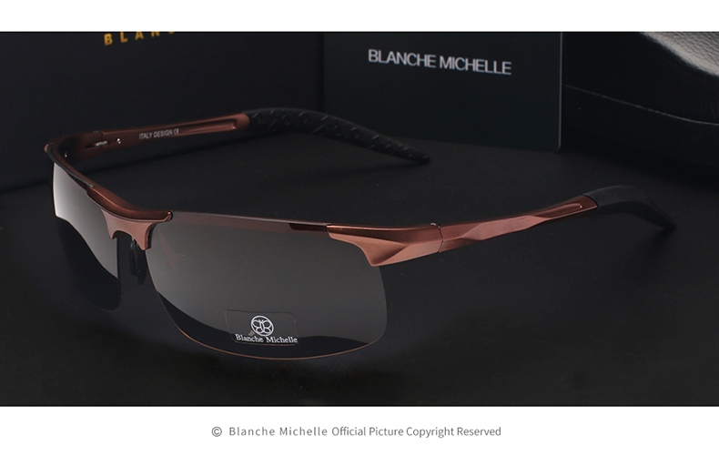 High Quality Ultra-light Aluminum Magnesium Sport Sunglasses Polarized Men UV400 Rectangle Gold Outdoor Driving Sun Glasses 11