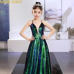 Длинное детское платье принцессы с открытой спиной и русалочкой для девочек; красивый костюм для подиума; вечерние платья с блестками для д...