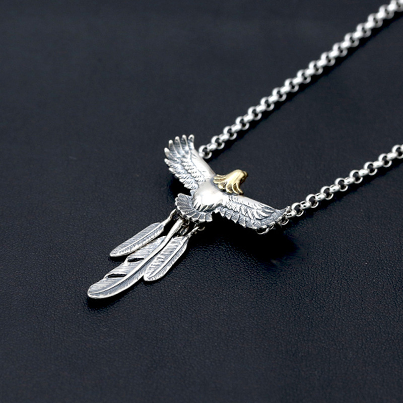 S925 Sterling Silver Jewelry Vintage Thai Silver Fashion Takahashi Feather Male And Female Pendants