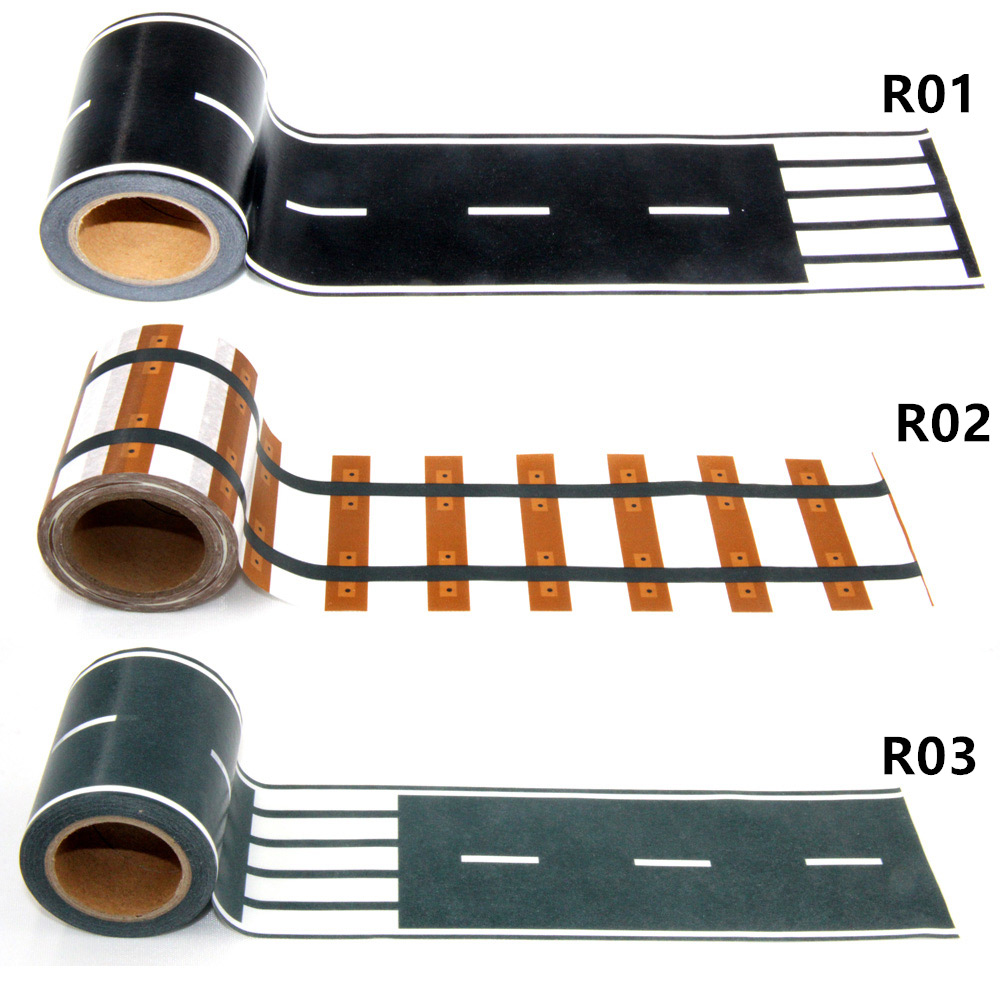 New 1Pc  60mm * 10m Railway Road Washi Tape ,Adhesive Masking Tapes scotch road for kids toy car play