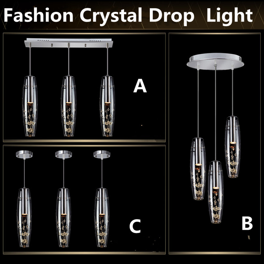 Modern simple fashion creative glass crystal drop light 220V led white / warm white Bar, dining room, living room bedroom lamp modern 3 6 lights crystal glass clear wineglass wine glass ceiling light lamp bedroom dining room fixture gift ems ship