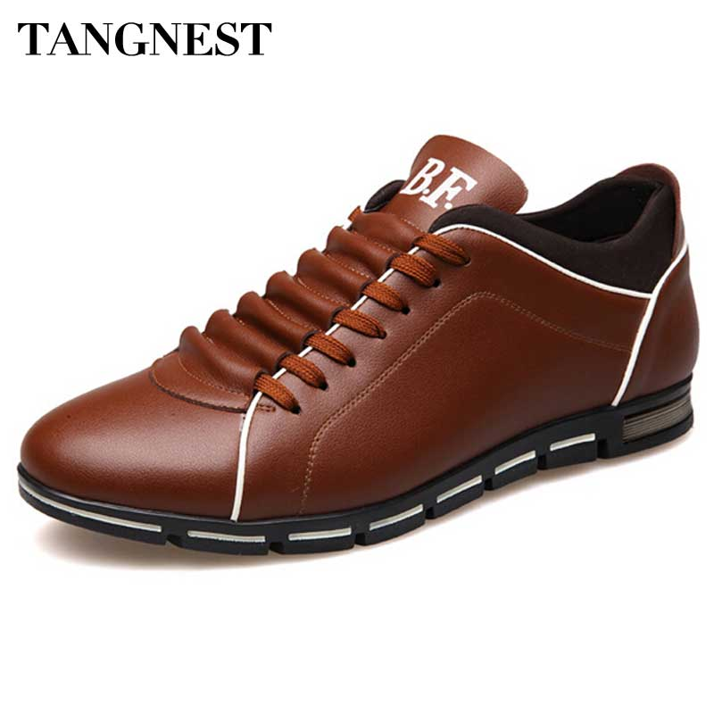 Tangnest Luxury Brand Men Dress Shoes Handmade Leather Casual Shoes Men British Style Lace-up Flats 5 Colors Man Flats XMR1935