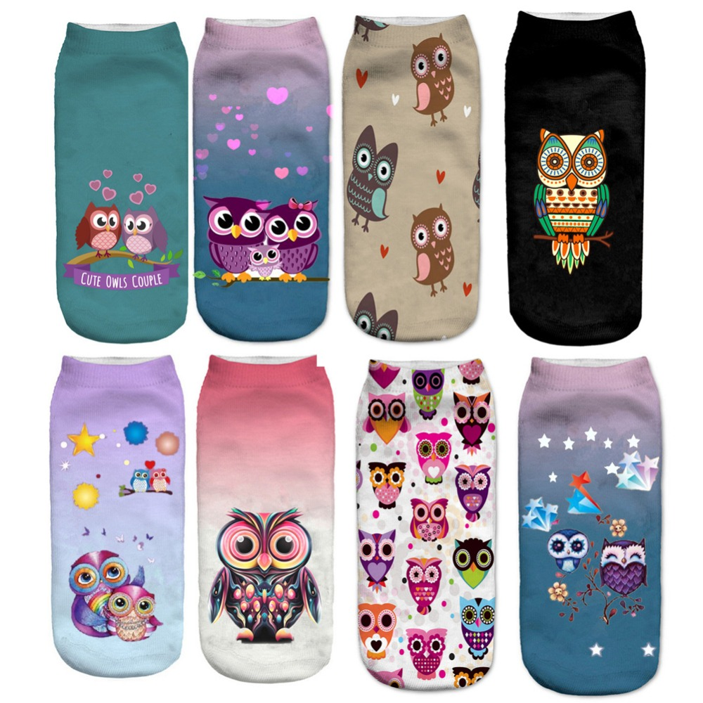 Cute Owl Socks 2017 Lovely Animal Print Socks Casual Funny Low Cut Ankle Socks