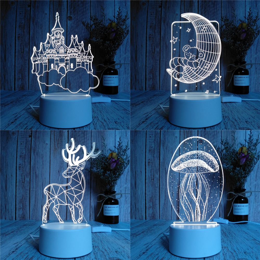 USB Supply Creative LED Acrylic Novelty Light 2019 New Novelty Lamp Baby Kids Children Bedroom Lamp Home Decor Holiday Gifts