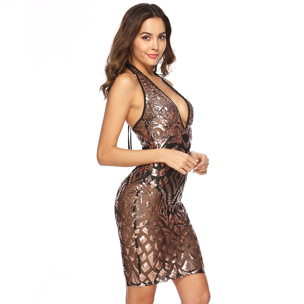 Sexy perspective black Gold Sequins summer dress women bandage bodycon dress elegant Luxury night club Wrap backless Party dress in Dresses from Women 39 s Clothing