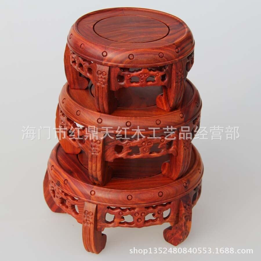 Mahoni Patung Batu Vas Bunga Pot Pelat Dasar Beberapa Kayu Cendana Merah Kerajinan Ornamen Bulat Solid Di Miniatur Dari Rumah