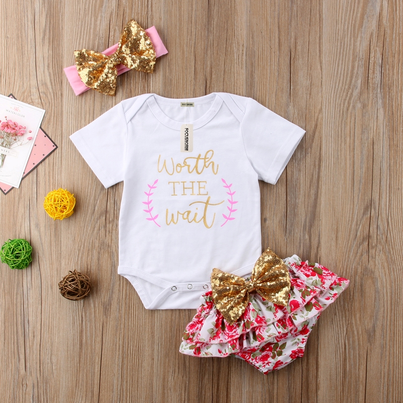 3Pcs Newborn Kids Baby Girl Romper Floral Bowknot Shorts Headband Casual Outfits