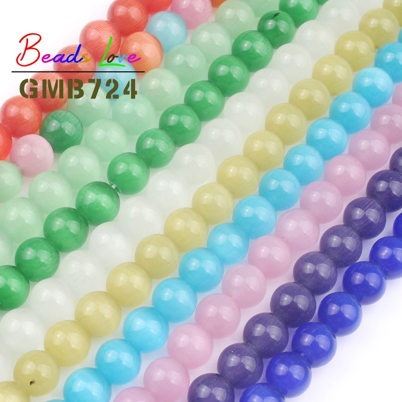 Wholesale Pink White Cat Eye Bead 4 6 8 10 12mm Round Loose Spacer Opal Natural Stone Beads For Jewelry Making Diy Bracelet 15 39 39 in Beads from Jewelry amp Accessories