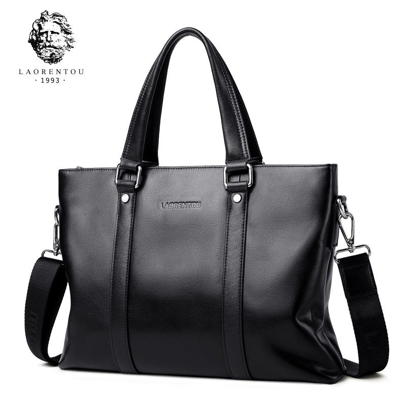 LAORENTOU Men Handbag Business Briefcase Leather Crossbody Bag High Quality Top-handle Handbag Tote for Men Brand Luxury Bags