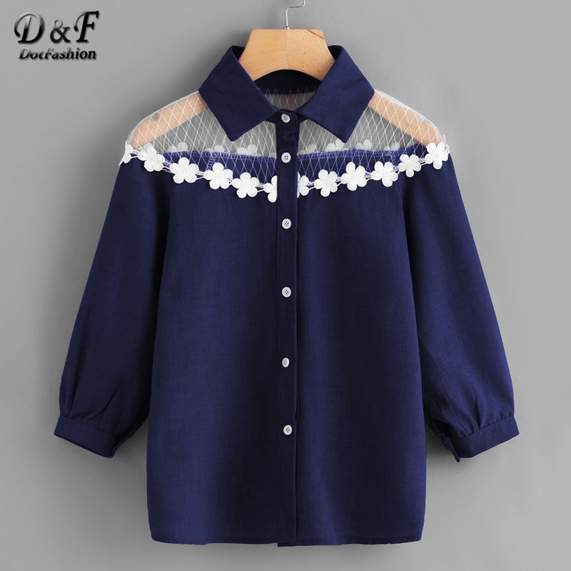 Dotfashion Mesh Insert Crochet Trim Shirt 2018 Women Spring Autumn Blouse Three Quarter Length Sleeve Regular Fit Casual Blouse