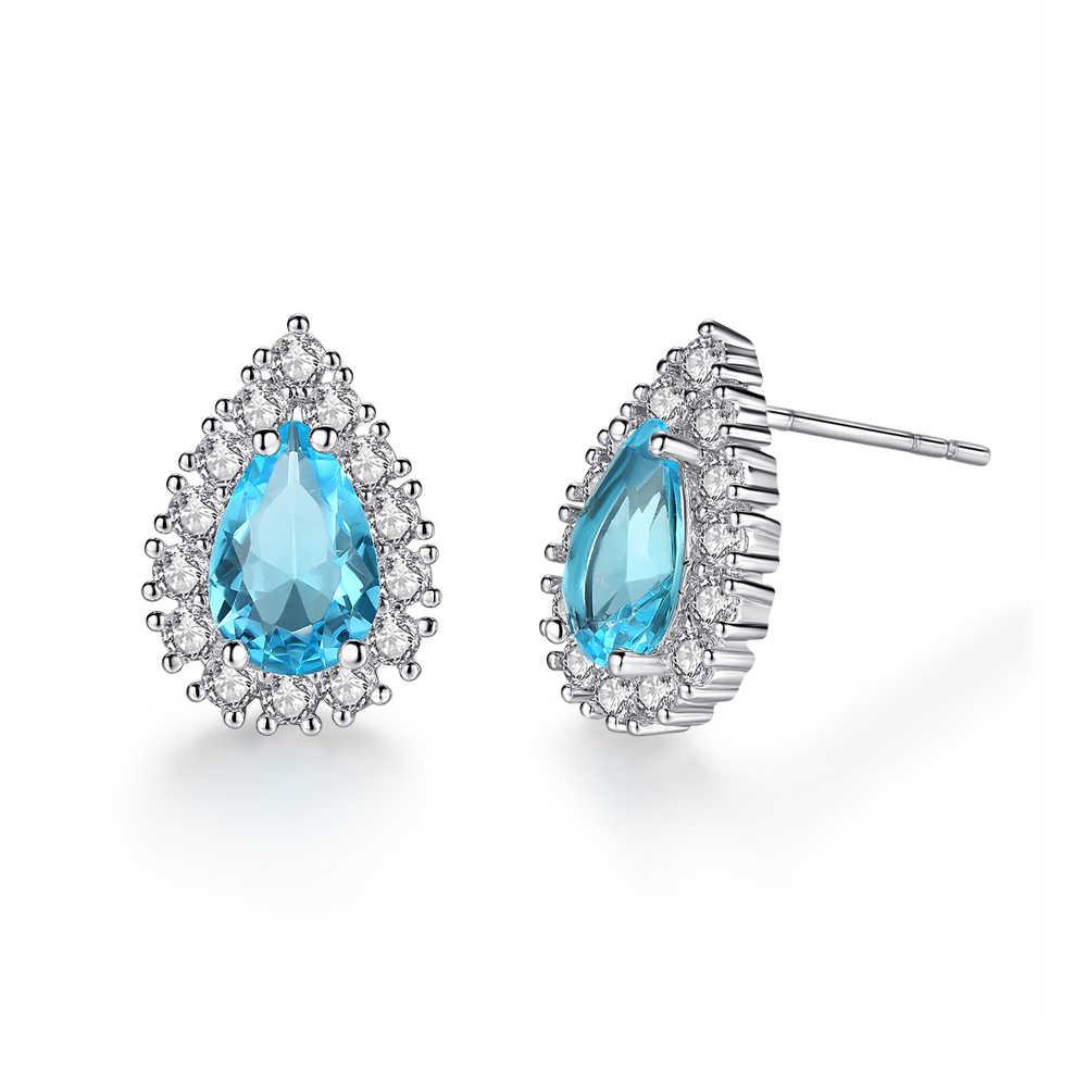 CiNily luksusowe kropla wody pełne kryształowe kolczyki Big paw niebieski kamień srebrny stadniny kolczyki panna młoda ślub Party biżuteria dla kobiet