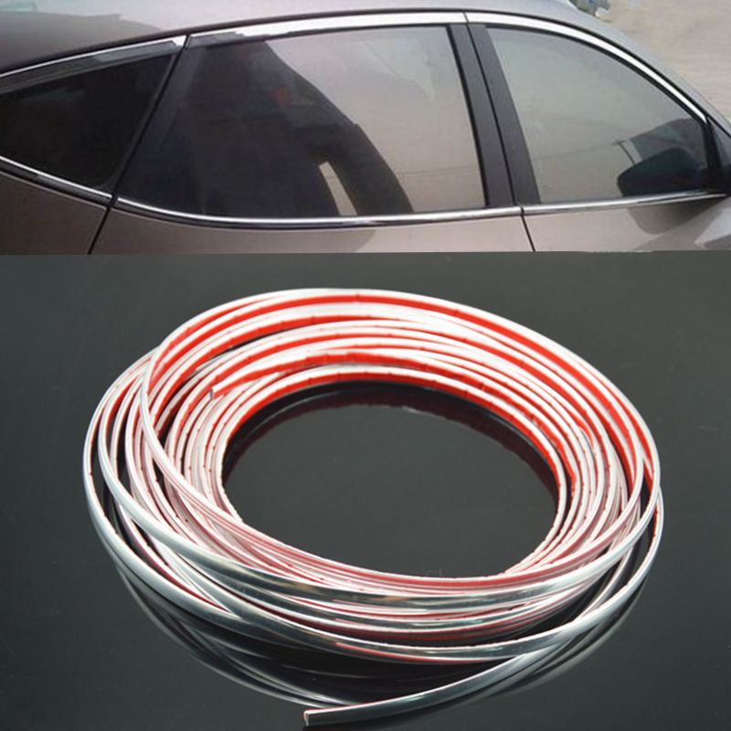 Universal 8mm12m long Car Styling Door Moulding Trim Automotive Car Sticker Chrome Strip width Chrome Trim Strip Car Interior