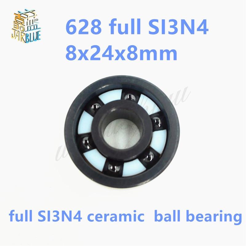 Free shipping 628 full SI3N4 ceramic deep groove ball bearing 8x24x8mm 628 2rs 628 hybrid ceramic deep groove ball bearing 8x24x8mm
