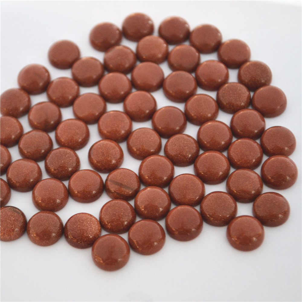 Wholesale Fashion Natural Stone CABOCHON Round CAB Gold Sand Beads High Quality For Jewelry Accessories 10mm 50Pcs Free Shipping