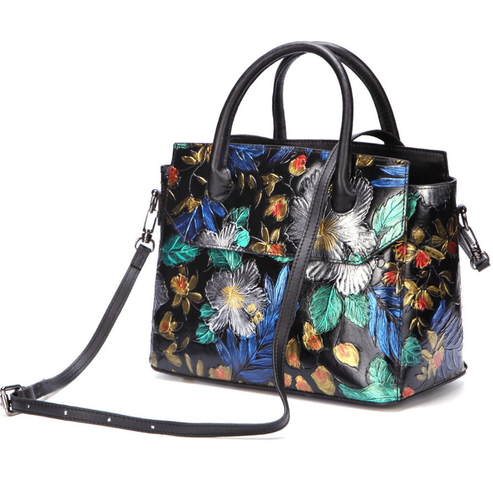 Women Shoulder Messenger Crossbody Tote Bag Handbag Brush Color Floral High Quality Genuine Embossed Leather Top
