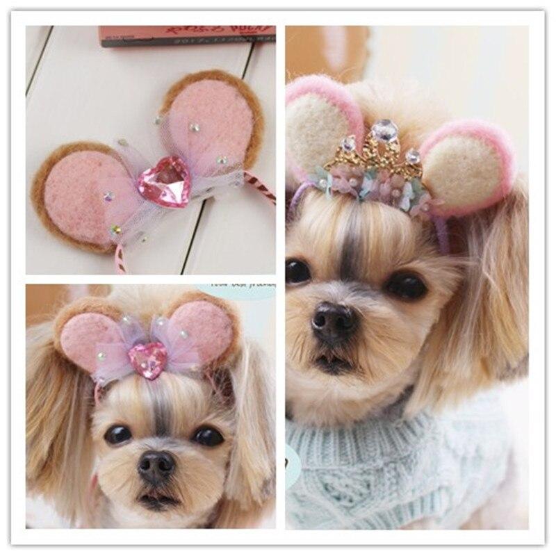 Dog Grooming Handmade wool felt font b pet b font headband Dog Teddy Yorkshire Maltese head