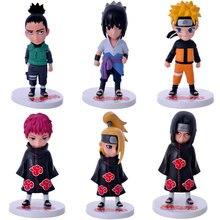 6pcs/lots cartoon Naruto Nara Shikamaru Uchiha Sasuke Uchiha Itachi Deidara action figure collectibles pvc toy Classic Toys