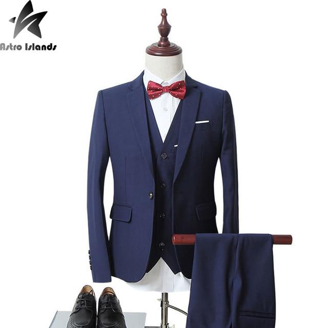 2017 6XL Hombres Trajes de Marca Mens Blazer Jacket + Vest + Pants de Tres piezas de La Cena de Los Hombres Vestido de Novia novio Ropa Trajes de Negocios MT285